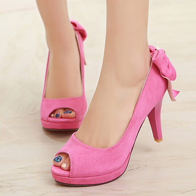 Chinese party style sexy peep toe pumps diamond bowtie platform ...