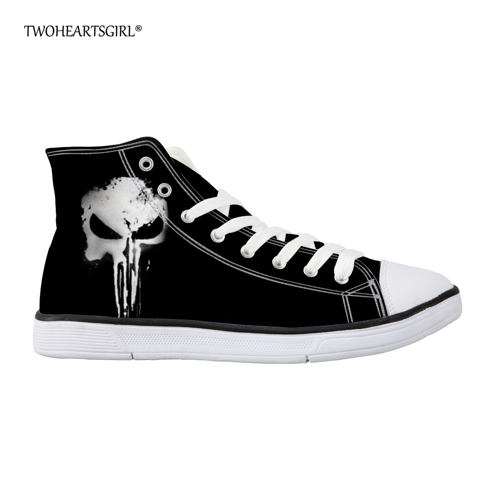 Twoheartsgirl Classic Black Punk Skull Canvas Shoes Höga Top Mäns - Herrskor