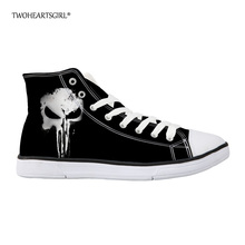 Twoheartsgirl Classic Black Punk Skull Canvas Shoes High Top Men's Vulcanize Shoes Personalized Lace Up Man Canvas Shoes Plus