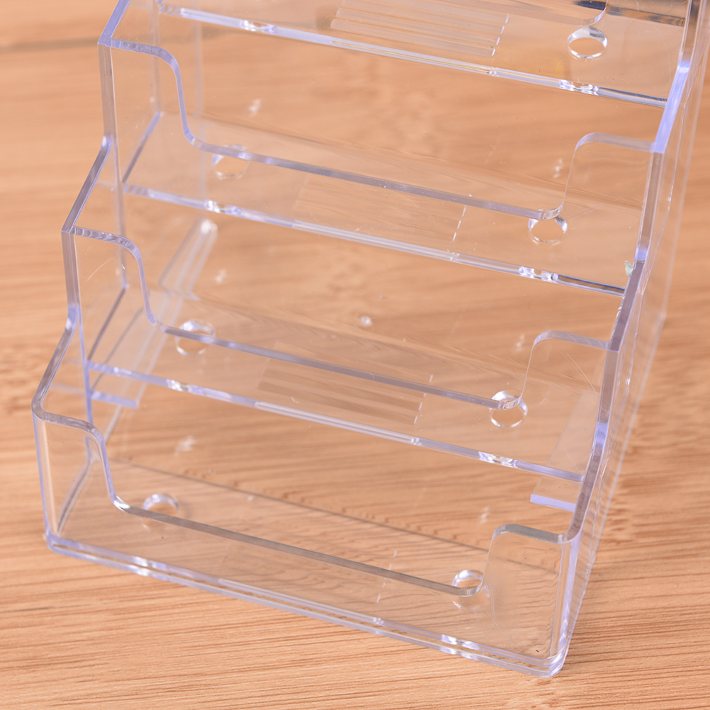 New Fashion Promotion Four Pockets Clear Desktop Office Counter Acrylic Business Card Holder Stand Display Fit For Office School Best Possessing Chinese Flavors