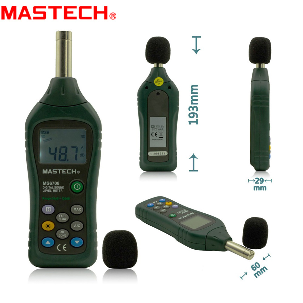 MASTECH MS6708 Handheld Industrial Digital Sound Level Meter Decibel Tester 30~130dB Analog Bar Display Back Light mastech ms6701 autoranging digital sound level meter decibel tester 30db to 130db with rs232 interface and software with the box