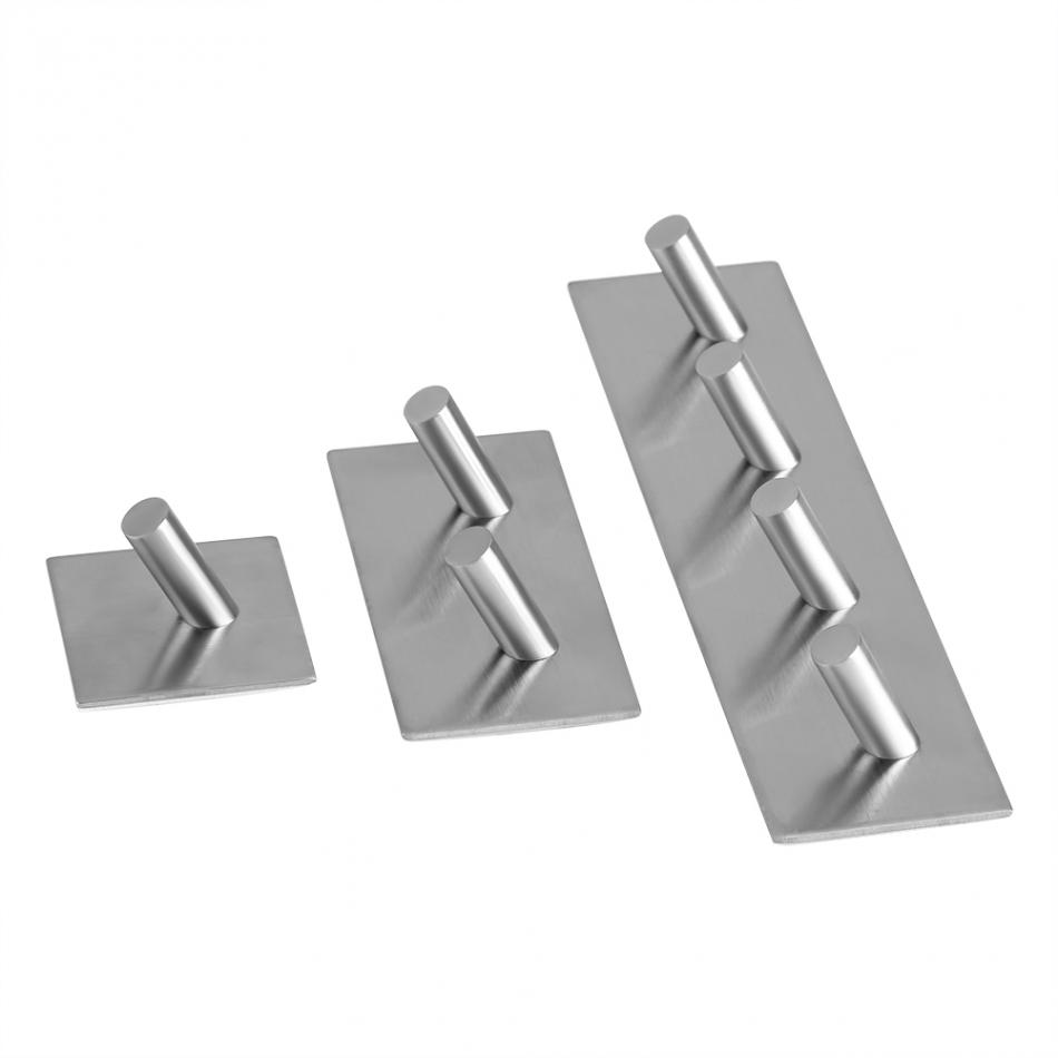Fdit 1Pcs Stainless Steel Adhesive Hook Towel Hanger Rack Rectangle Wall Mounted Hanging Robe Hooks Bathroom Kitchen Accessories