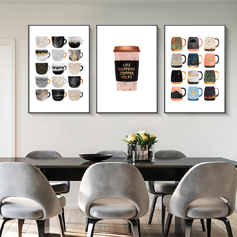 But First Coffee Colorful Cups Coffee Kitchen Prints Poster Nordic Canvas Paintings POP Wall Art Pictures Living Room Home Decor