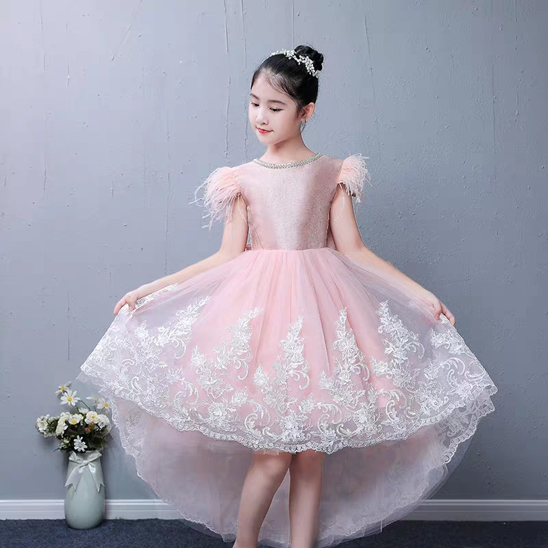 2019Spring Summer New Sweet Pink color Children Girls Elegant Tail Birthday Evening Party Dresses Toddler Piano Costume Dress2019Spring Summer New Sweet Pink color Children Girls Elegant Tail Birthday Evening Party Dresses Toddler Piano Costume Dress
