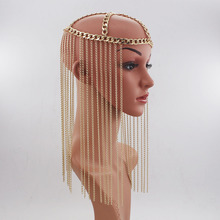 جديد وصول الفاخرة الشرير إكسسوارات الشعر رئيس سلسلة المرأة طويلة mutlilayer شرابة غطاء الرأس مجوهرات حزب تيارا