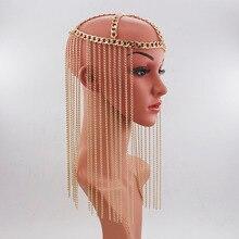 Accesorios de lujo para el cabello punk para mujer, cadena para la cabeza, larga, multicapa, con borlas, joyería, Tiara para frente de fiesta