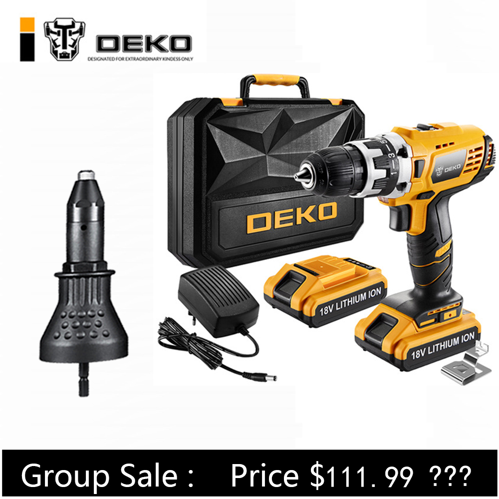 DEKO Cordless Drill Mini Screwdriver Electric Power Wireless Driver DC Lithium Ion Battery 2 Speed GCD18DU2