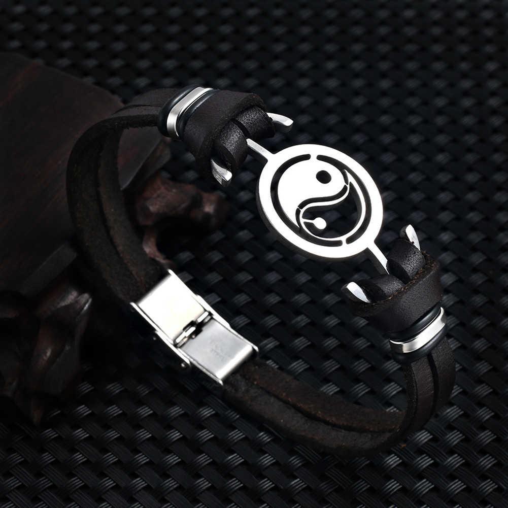 W stylu Vintage mężczyźni Tai Chi Yin Yang ze sztucznej skóry bransoletka z zapięciem bransoletka bangle na prezent nowy