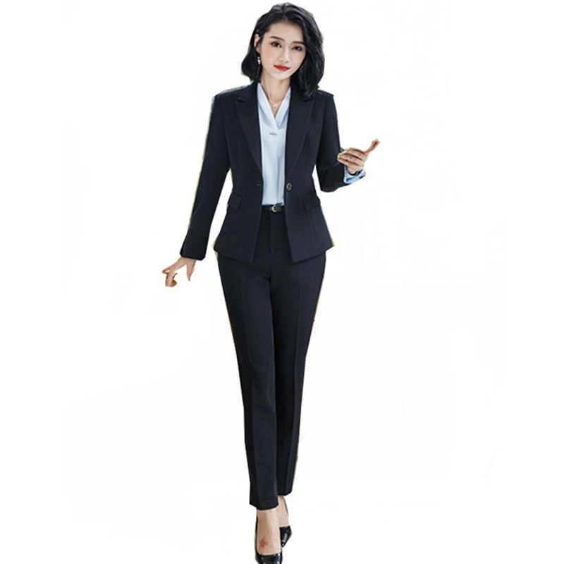 comprar oficial incomparable venta caliente barato 2018 Oficina señora lápiz pantalones trajes 2 piezas conjuntos Blazer de  negocios + pantalón lápiz o elegante traje de trabajo uniforme femenino