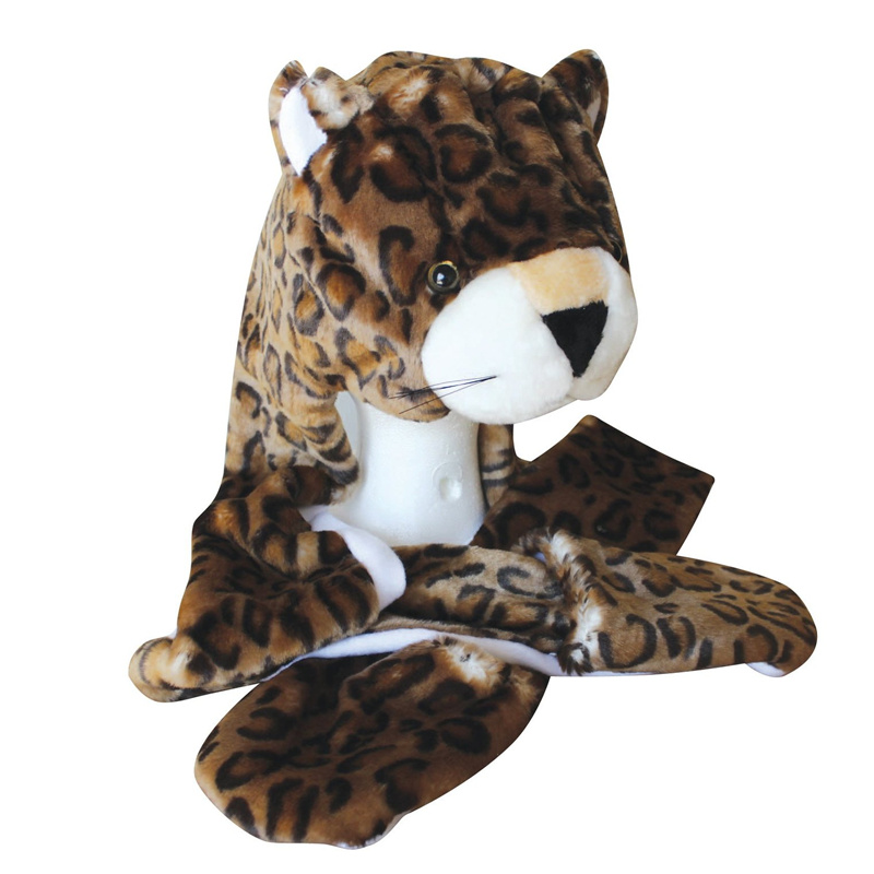 a73549e1 US $10.91 9% OFF|DOUBCHOW Cute Plush Brown Leopard Animal Hats with Paws  Gloves for Womens Mens Teenagers Kids Boys Girls Winter Cosplay Beanie-in  ...