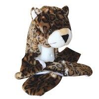DOUBCHOW Simpatico Peluche Brown Leopard Cappelli Animali con Le Zampe Guanti per le Donne Mens Adolescenti Bambini Ragazzi Ragazze Inverno Cosplay Beanie