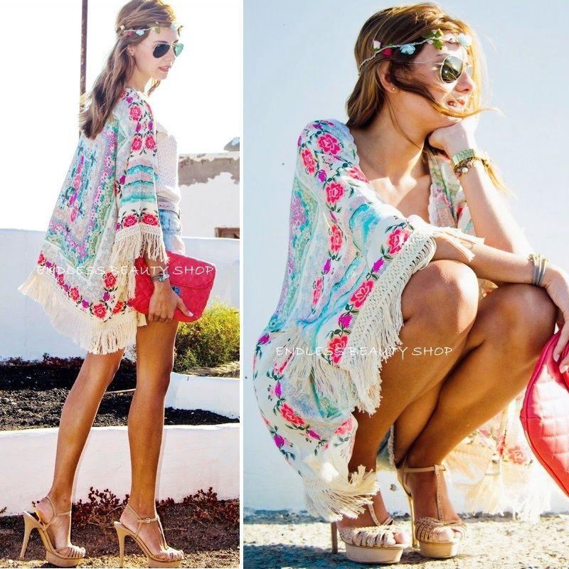 Új divat nők Boho Fringe virágos Kimono kardigán bojt Beach - Női ruházat