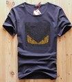 Nuevo 2016 top venta de los hombres de diamantes diseño de la camiseta hombres de lujo marca pute algodón remata camisetas