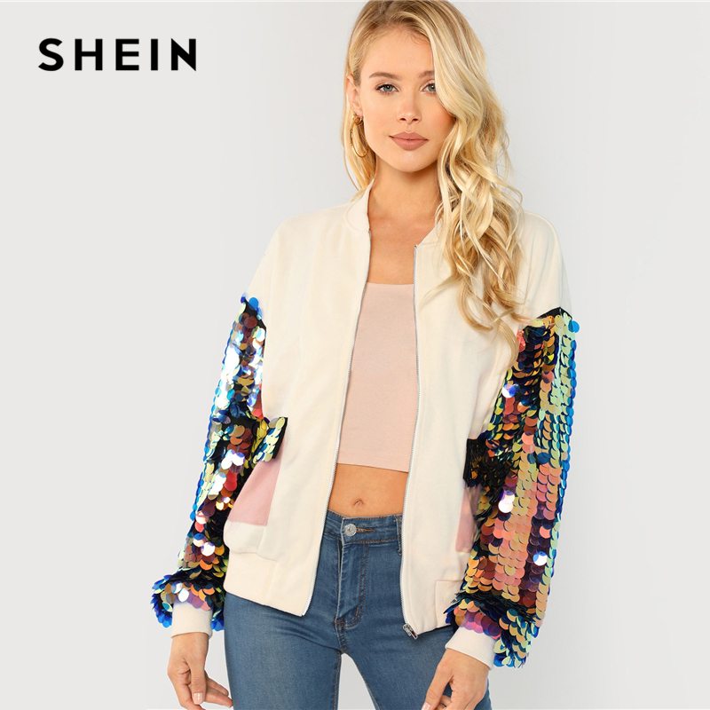 SHEIN White Highstreet Elegant Contrast Sequin Sleeve Pocket Front Zipper Up Jacket Autumn Casual Fashion Women Coat Outerwear 2