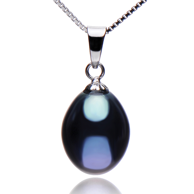 Black Freshwater Pearl 925 Sterling Silver Pendant Necklace