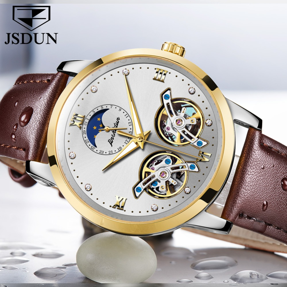 Double Tourbillon Skeleton Watch White Gold Dial Moon phase JSDUN Luxury Business Men Mechanical Wristwatch Automatic Watch 2019