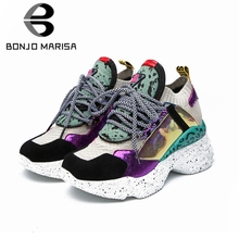 BONJOMARISA 2019 New Spring Summer INS Hot Women Horsehair Sneakers Cow Leather Suede Large Size 35