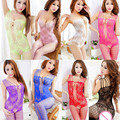 2017 HOT Sexy Lingerie Woman Lace Floral Fishnet Bodystockings Babydoll Lingerie Sleeveless Open Crotch Nightwear Sexy Underwear