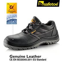 safetoe Mens Safety Shoes Breathable Anti-abrasion Anti-penitration Oxford Mesh Black Cow Leather