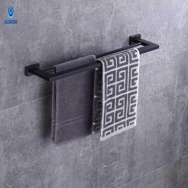 Ulgksd Modern Bathroom Ancessories Towel Racks Black Copper Bathroom Hardware Bath Towel Shelves  Wall Mounted Towel Holders 60cm oil rubbed bronze bathroom shelves towel racks black european antique copper storage rack shelf with hooks wall mounted