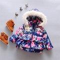2016 новорожденных Девочек Теплый цветочный куртка с капюшоном Новорожденный Хлопка мягкой одежда для новорожденных с капюшоном верхней одежды