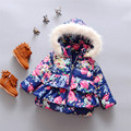 2016 baby Girls Warm floral hooded jacket Newborn Cotton-padded clothes infant hooded outwear