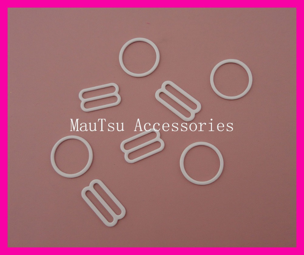 50sets 18mm Inner Size White Metal Adjustable Clips And Hook For Bra And Adjuster Pieces,metal Regulators And Ring Sets