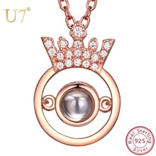 U7 925 Sterling Silver Crown Clear CZ Pendant Nano Engraved I LOVE YOU In 100 Languages Personalized Custom Name Necklace SC257