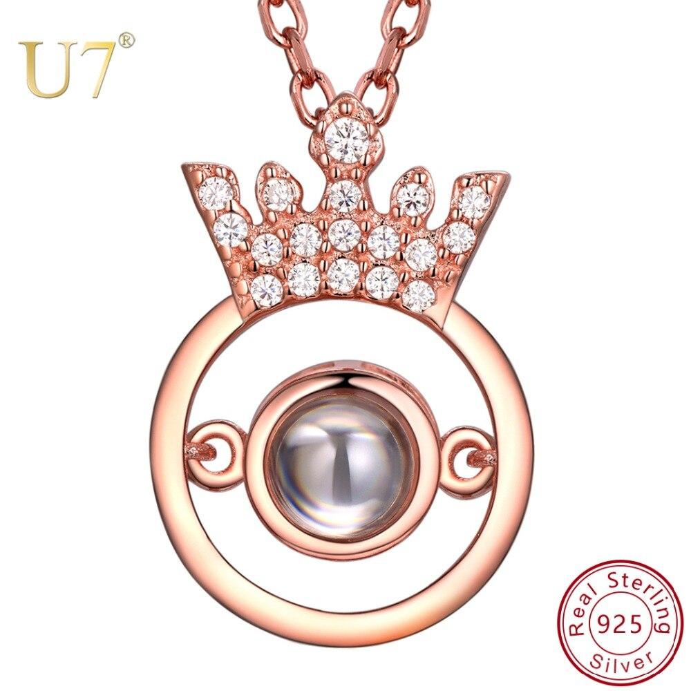 U7 925 argent Sterling couronne claire CZ pendentif Nano gravé je t'aime en 100 langues personnalisé nom collier SC257