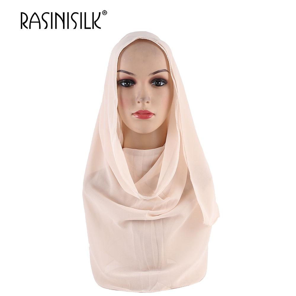 RASINISILK Turkish Hijab Style Women Muslim Hijab Solid Scarve Ornamental Shawl Muslim Head Coverings Hoofddoek Moslima #A006