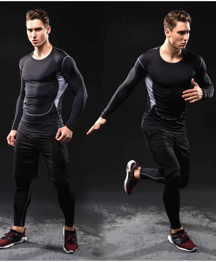 Workout Warm Sport Anzug Männer Lauf Sets Kleidung Compression Basketball Gym Fitness Training Anzüge Atmungs Jogging Sportswear