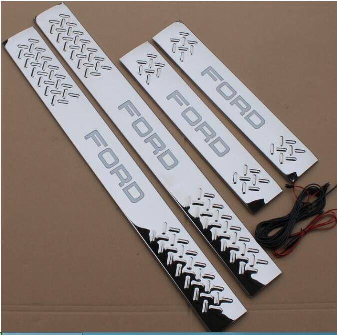 new car stainless steel door sill fit FOR FORD F-150 Raptor Welcome pedal led door sill