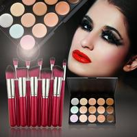 Professional 15 Colors Face Concealer Palette Foundation Cream 10pcs Eyeshadow Foundatin Brushes With Bag Ladies Beauty