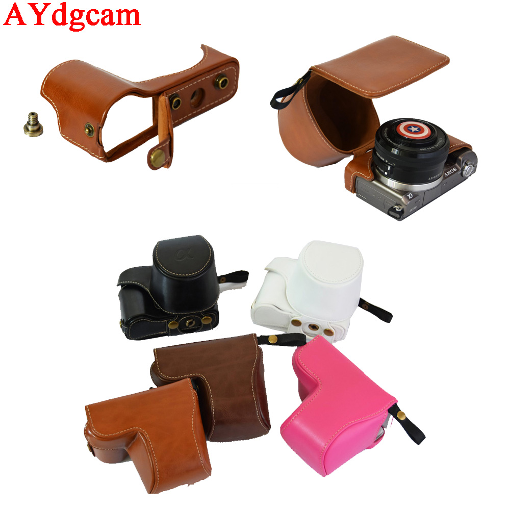 Retro Vintage Camera Video Case For <font><b>Sony</b></font> Alpha <font><b>A5100</b></font> A5000 PU Leather Bag With <font><b>Battery</b></font> Opening Case