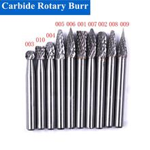 цена на High Quality 1pcs 6mm Shank Tungsten Carbide Rotary Burr Cutter Tool Double Cut Rotary File Dremel Rotary Tool Electric Grinding