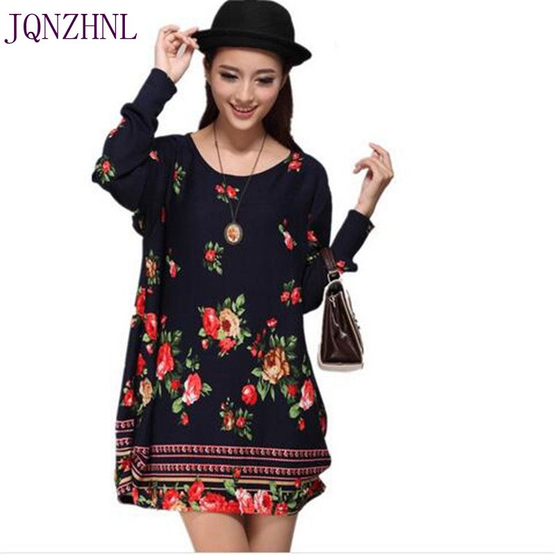 JQNZHNL 2017 Spring New Fashion Printing Knitted cotton Dress Loose Long sleeve Sexy Short Dress Large size Women Dress AS118 new mens colors short sleeve cotton tshirt henry kissinger quote absence