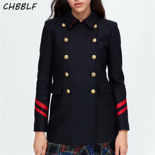 CHBBLF women turn down collar Military woollen jacket coat double breasted coats