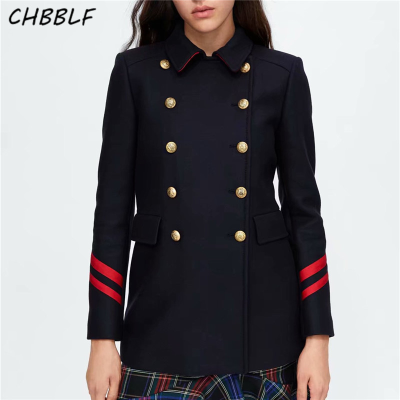 CHBBLF women turn down collar Military woollen jacket coat double breasted coats fashion female outerwear tops XSZ1815