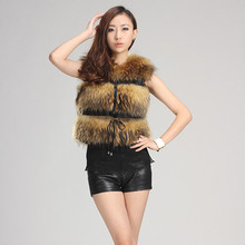 2016 Luxury Lady Genuine Raccoon Fur Vest Waistcoat Adjustable Belt Female Autumn Winter Women Fur Outerwear Coats 0907