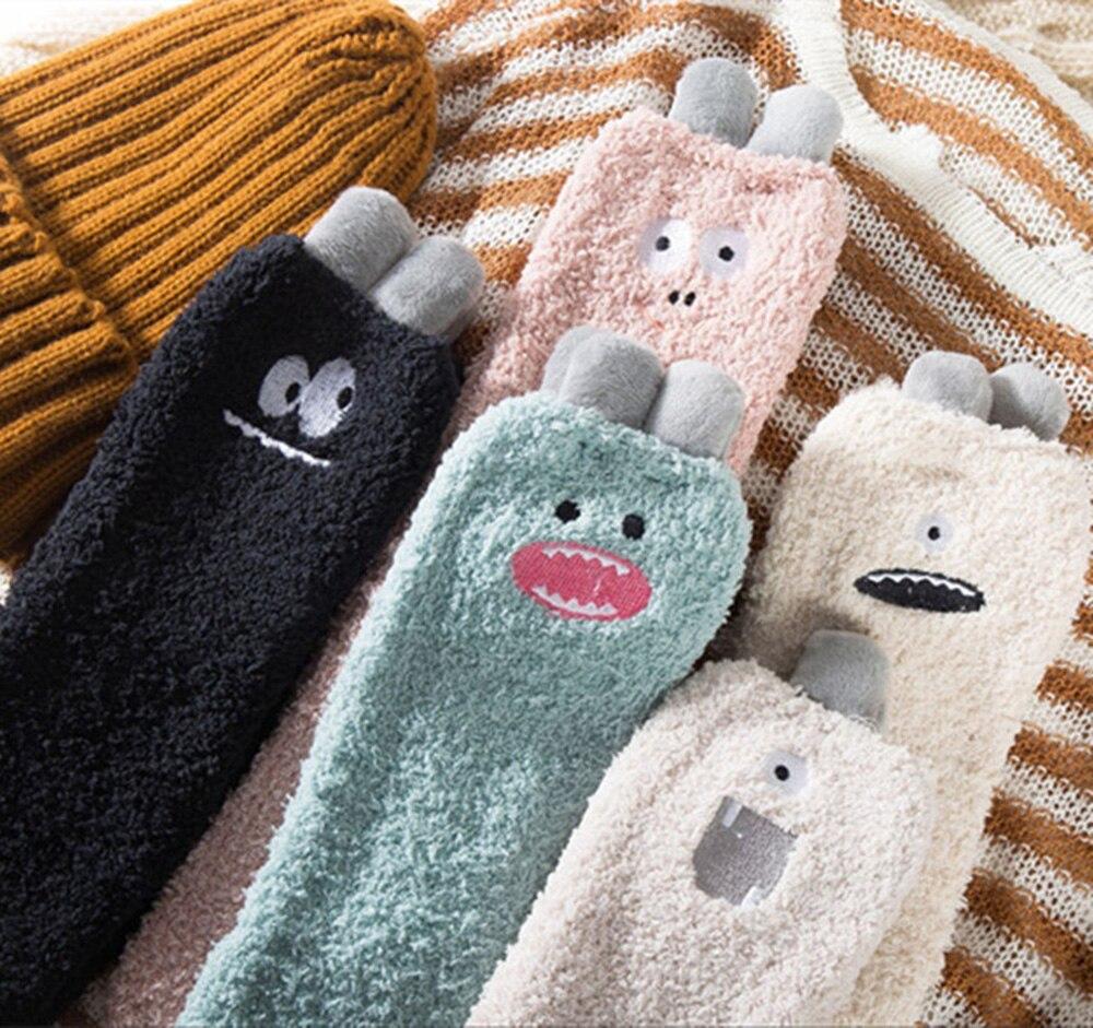 Breathable Socks Winter Soft Warm Sleep Stocking Cartoon Women Coral Fleece Sweat, Deodorant(China)