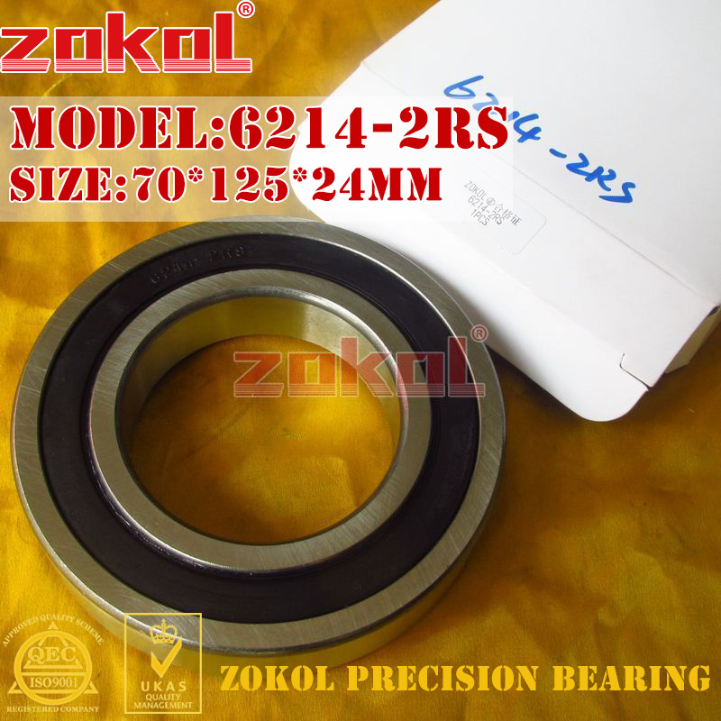 ZOKOL 6214RS Bearing 6214 2RS 180214 6214-2RS Deep Groove Ball Bearing 70*125*24mm