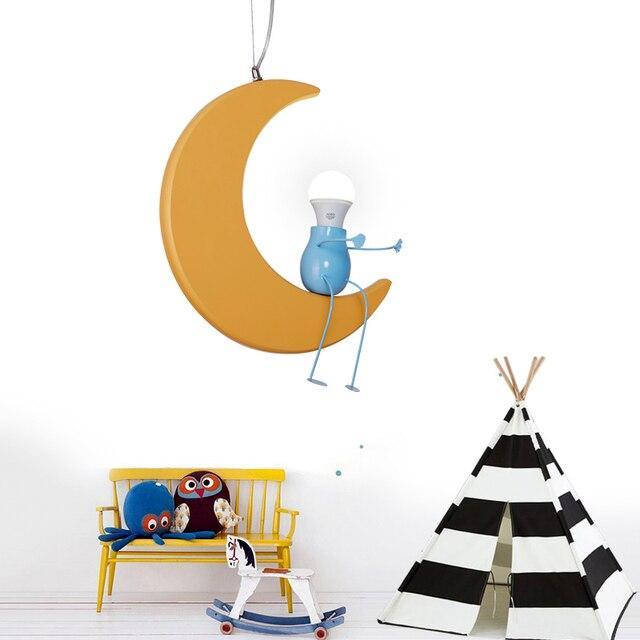 kinderkamer hanglampen creatieve persoonlijkheid cartoon maan jongen meisje babykamer verlichting armatuur e27 lamp
