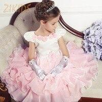 Children Brand Kids Clothes Formal Floral Decor Princess Dress For Girls Party Dresses Summer 2016 Red