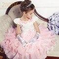 Formal Flowers Girl Dresses for Girls Wedding Party Dress Summer 2016 Layered Ruffles Patchwork Children Brand Kids Clothes Sale