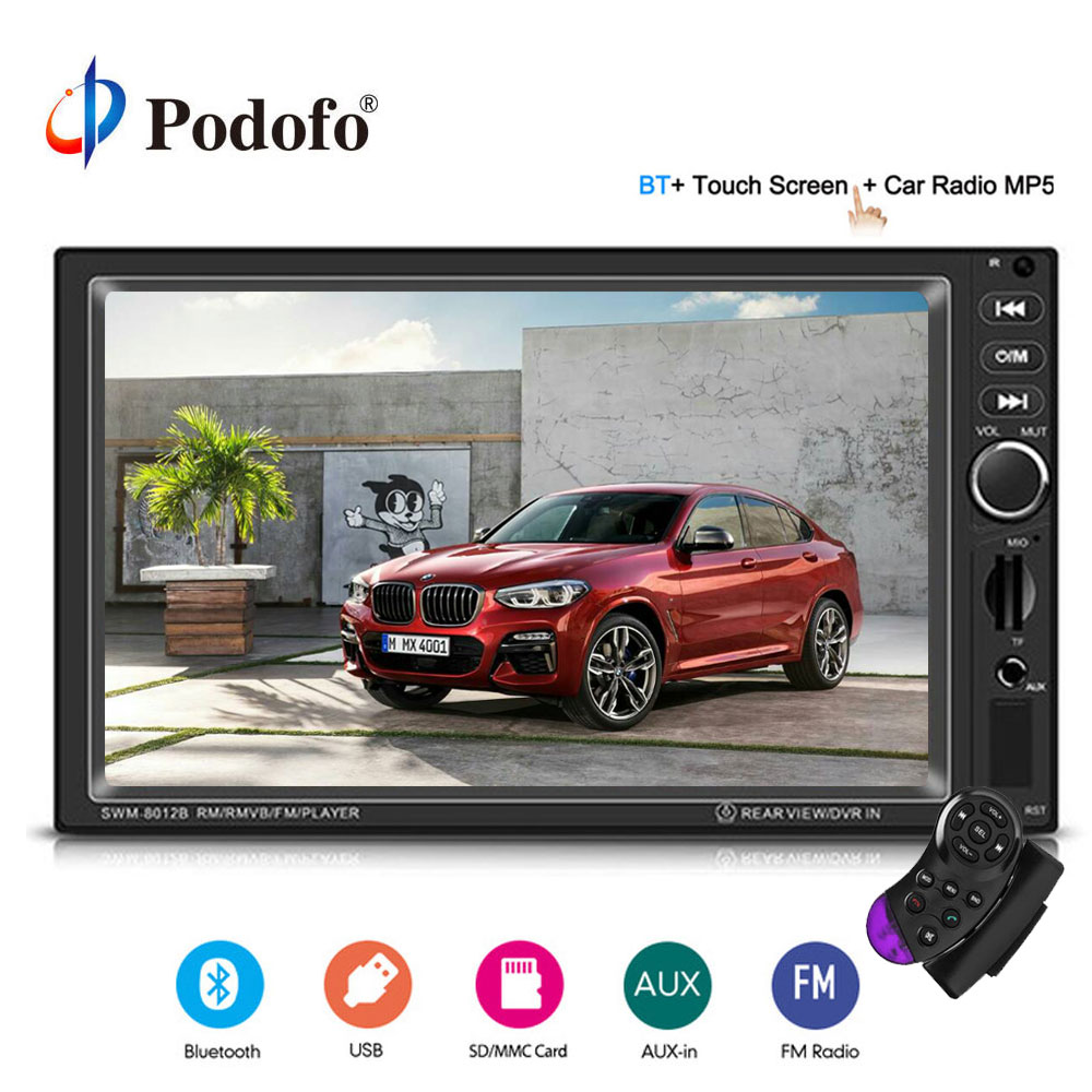 Podofo 7 8012B 2 Din Car Multimedia Player Bluetooth Touch Car Stereo MP5 Player TF USB FM Radio Rear View Camera Media Player ax 700 car style 0 8 display media player speaker w tf fm black