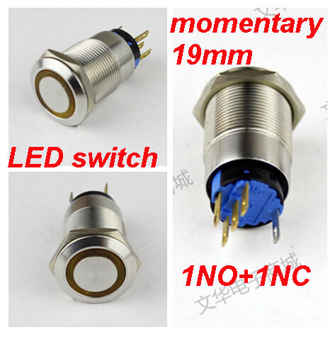 1pcs packing  led electrical switch waterproof IP67 momentary push button switch metal switch with led 6V 12V 24V 110V 220V 5pcs 12mm 3v blue led metal momentary 4pin mini push button switch 1no 2a 250vac