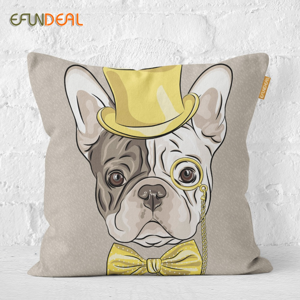 Cute Cartoon Cushion Cover Dogs Bulldog Dachshund Pillow Case For Sofa Couch Bed Chair Home Decoration 45*45cm/60*60cm Home & Garden Home Textile