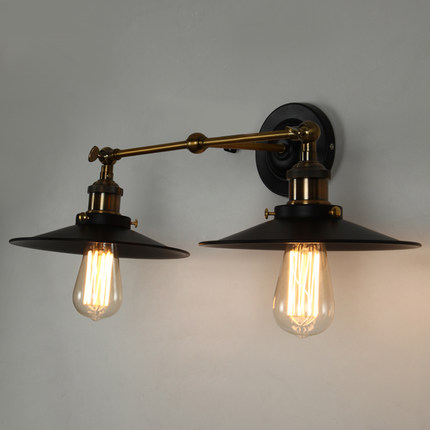 Loft Style Double Iron Vintage Wall Lamp Bedside Wall Light Fixtures For Dining Room Edison Wall Sconce Indoor Lighting