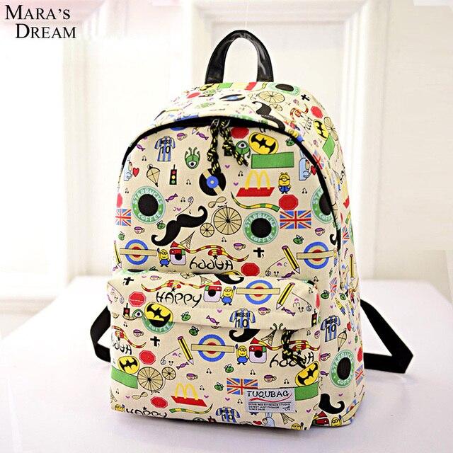 Mara's Dream 2016 Canvas Printing Anime Adventure Time Big Capacity Zipper Softback Backpack Teenage Mochila Feminine Bagpack