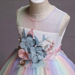 Image 4 - New Rainbow Girl Unicorn Tutu Dress Fancy Pony Unicorn Wedding Bridesmaid Costume for Kids Princess Carnival Party Dress Vestido